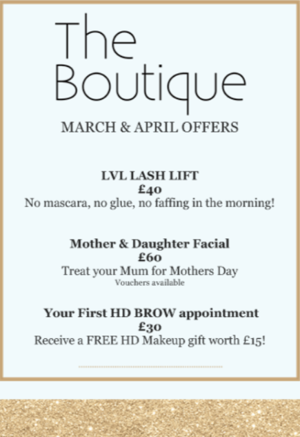 March and april offers salon sign
