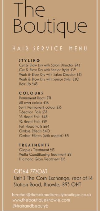 Hair Treatment Menu